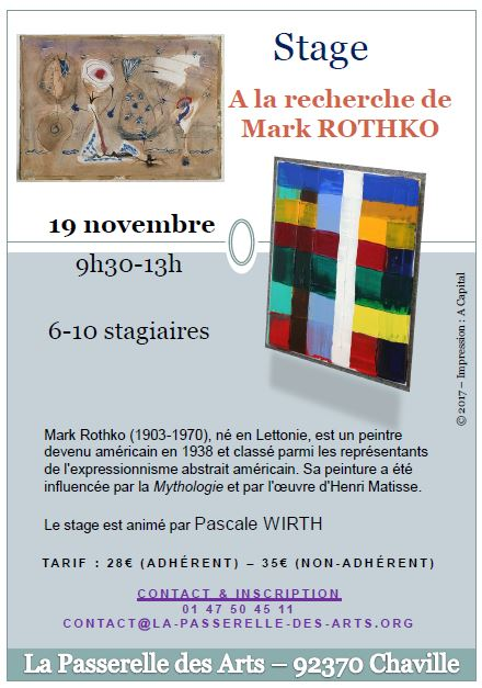 Flyer du stage « A la rencontre de Mark Rothko »
